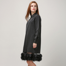 [TWOTWINSTYLE] 2016 Autumn Stripes Splicing Pieces Gauze See Through Long Sleeve Dress Women New Clothing Fashion