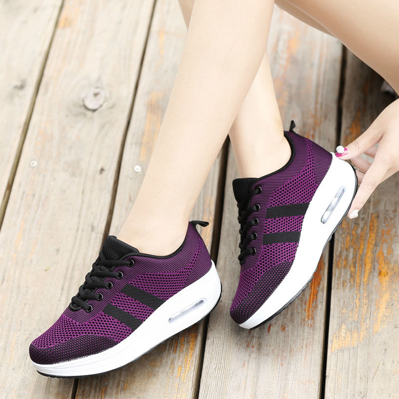 Image 5 - 2018 New Spring Summer Casual Shoes Woman Breathable Mesh Women Loafers Platform Womans Sneakers Lace Up Ladies Flats Shoeladies flats shoesflats shoesloafer platform -