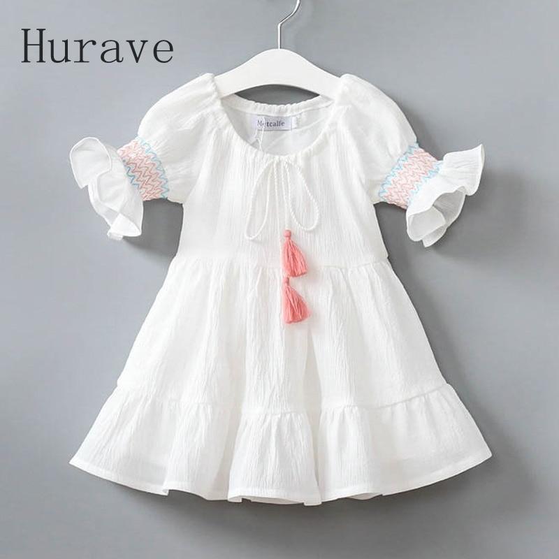 Hurave girls dress with belt lolita style dress kids clothes children fashion spring dresses infantil half-sleeve girl clothing