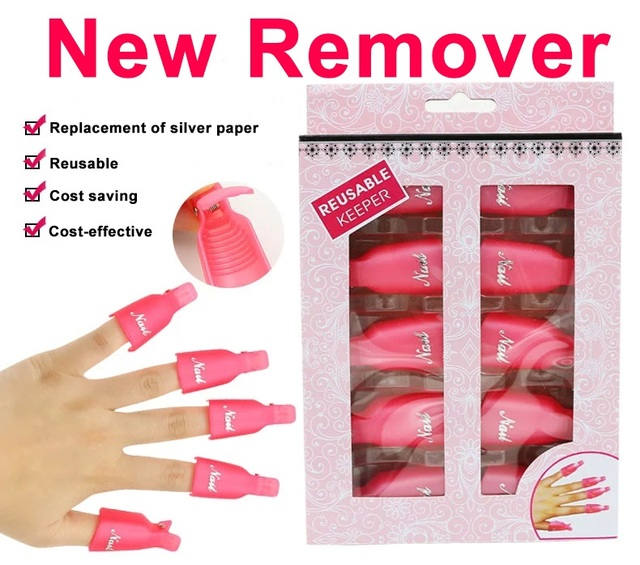 Nail Art Plastic Reusable Gel Polish Remover 10pc Soak Off Cap Clip Uv