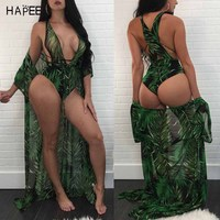 Sexy Leaf Print Swimsuit One Piece Brazilian Bathing Suit Long Beach Cover Up Two Piece Set