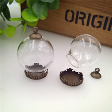 NEW 100  sets/lot 25x15mm glass globe with crown base and 8mm cap set (no filler) vial pendant bottle