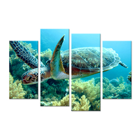 4 Pieces Canvas Wall Art Green Sea Turtle Swimming Underwater In Deep Ocean Animal Pictures Print