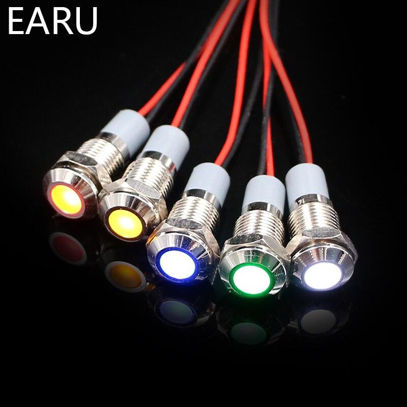 8mm Waterproof IP67 LED Metal Warning Indicator Light Signal Lamp Pilot + Wire 3V 5V 6V 12V 24V 110V 220v Red Yellow Blue Green