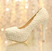 ผู้หญิงแฟชั่นดอกไม้สีขาวลูกไม้แพลตฟอร์มรองเท้าส้นสูงไข่มุกรองเท้าแต่งงาน