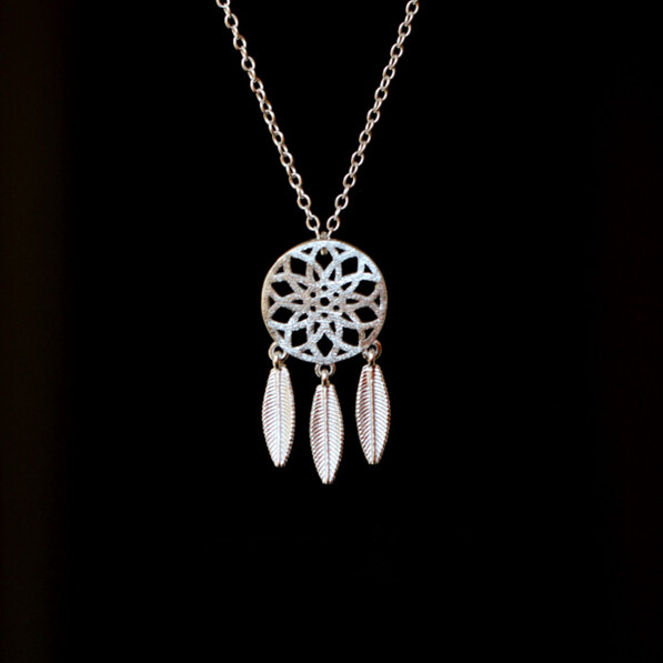 925 Sterling Silver Dream Catcher Feather Necklaces & Pendants For Women Gift Fashion Dreamcatcher Necklace Jewelry Kolye H041