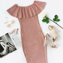 Elegant Evening Sexy Club Backless Dress in Pink Suede Off The Shoulder Ruffle Dress