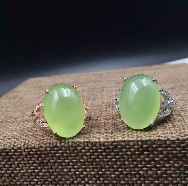 Natural green chalcedony gem Ring Natural gemstone ring 925 sterling silver trendy Luxury round women's girl gift fine Jewelry