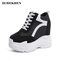 Women Chunky Sneakers Flat Platform Travel Shoes Lace Up Thick Bottom Creepers Female Increased Height Casual