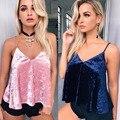 2017 Primavera Verano Cami Tank Top mujeres sexy Velet tank top Girls Correa Atractiva V neck Beach Boho Gypsy Tees