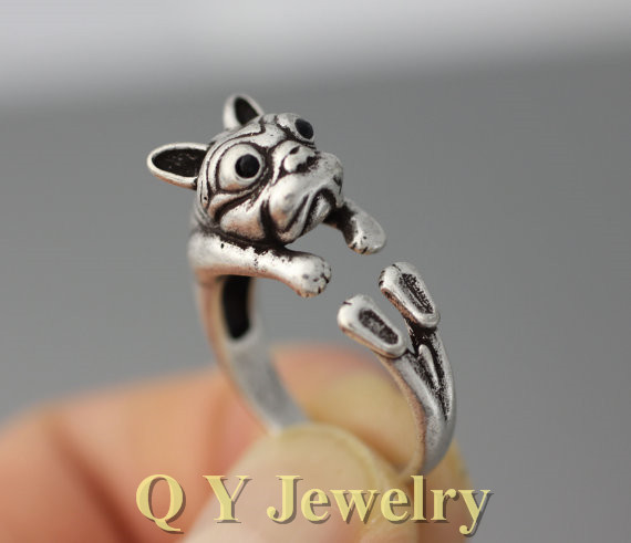 new vintage silver boho chic mid finger french bulldog doggy ring brass knuckle hippie animal dog - Hippie Wedding Rings
