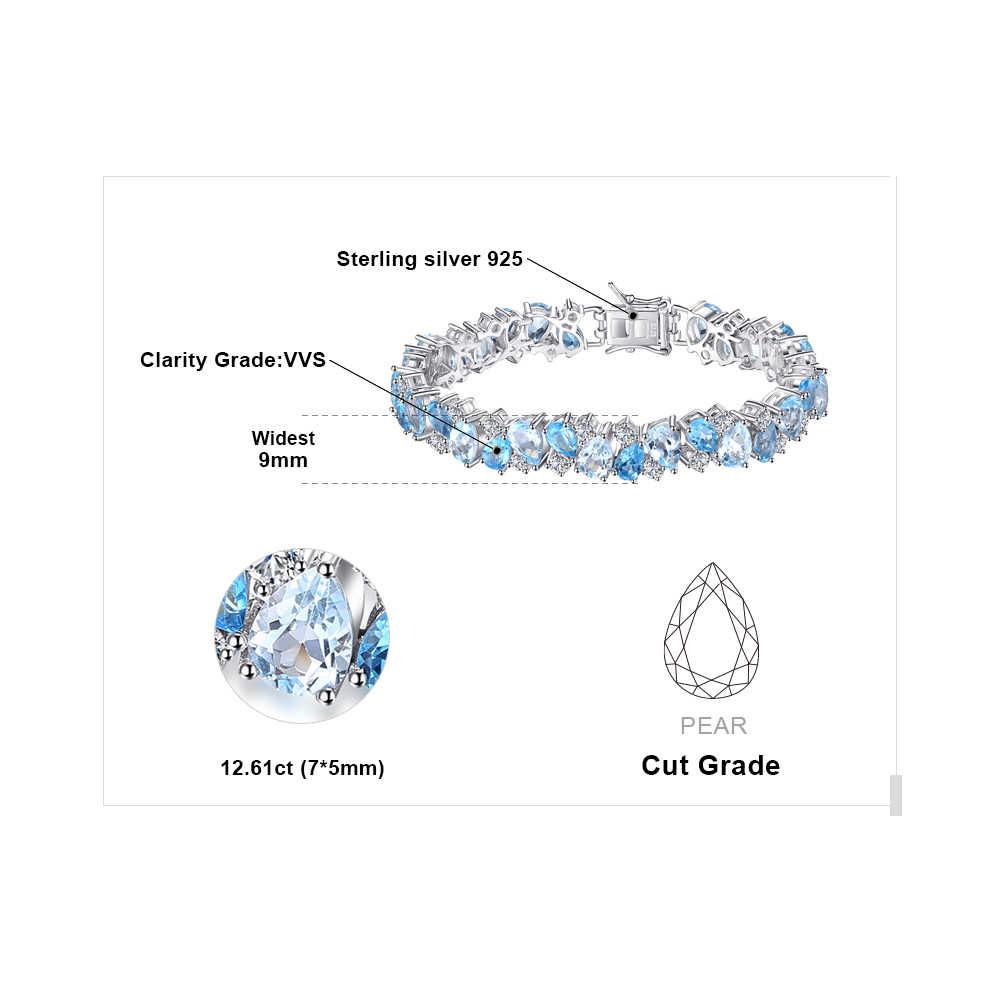 Büyük 23ct doğal londra mavi Topaz 925 ayar gümüş bilezik tenis taşlar bilezikler kadınlar için gümüş 925 takı yapımı