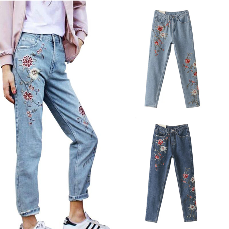 High waisted floral skinny jeans 2017