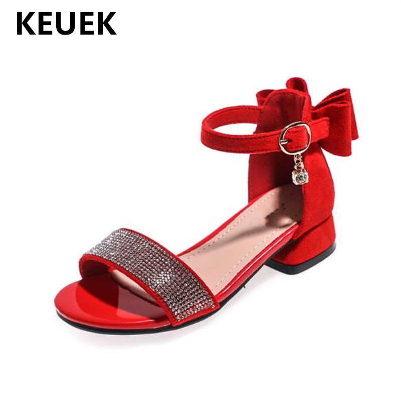 New Children Bow Rhinestone Sandals Princess Low-heeled Comfortable Summer Gladiator Shoes Student Baby Kids Sandals 018New Children Bow Rhinestone Sandals Princess Low-heeled Comfortable Summer Gladiator Shoes Student Baby Kids Sandals 018