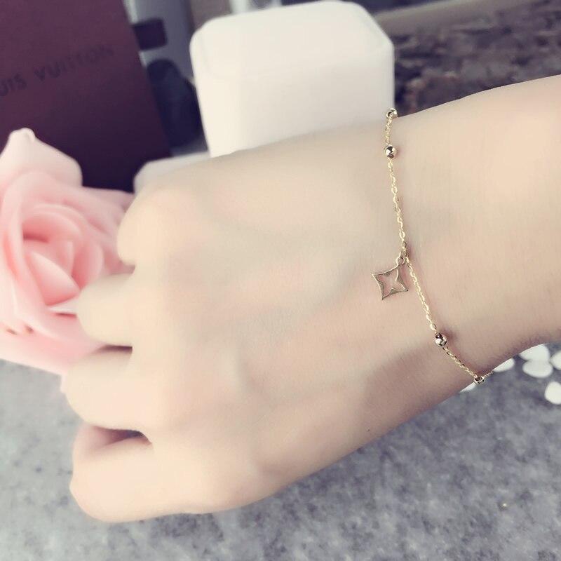 AINUOSHI 18 K pulsera de perlas de oro amarillo Natural cultivada de perlas de agua dulce pulsera de cuatro hojas de regalo de dama cuentas de cadena de regalo-in Pulseras y brazaletes from Joyería y accesorios    2
