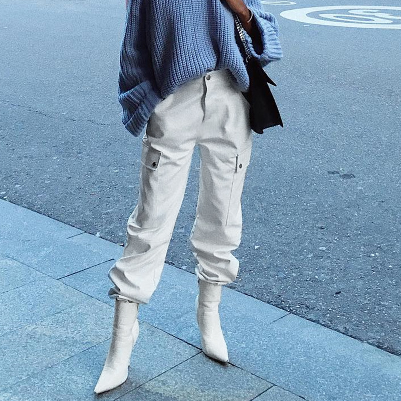 Summer Women Cargo   Pants     Capris   High Waist Casual Loose Joggers Baggy White Sweatpants Pockets 97% Cotton Female Boots Trousers