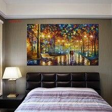 Большой холст с принтом Любителя прогулки в дождливом парке пейзаж маслом на холсте настенные художественные картины для гостиной комнаты домашний декор