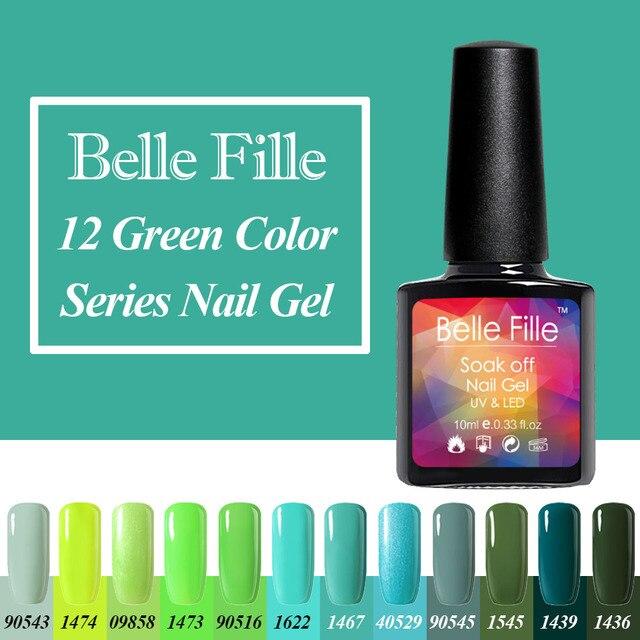 אפור כחול צהוב דשא Belle Fille 10 ml צבע ירוק כהה אופנה סדרת אמנות לק ג 'ל לכה UV לספוג את איפור Gelpolish