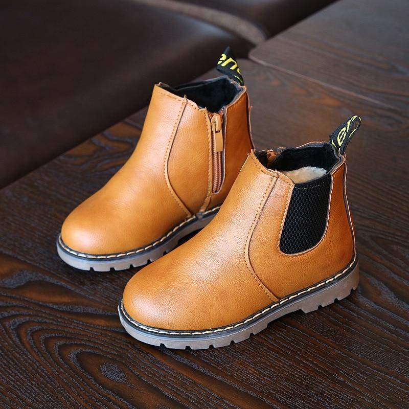Kids leather boots 2017 autumn new fashion black retro brown kids girls boys casual bo