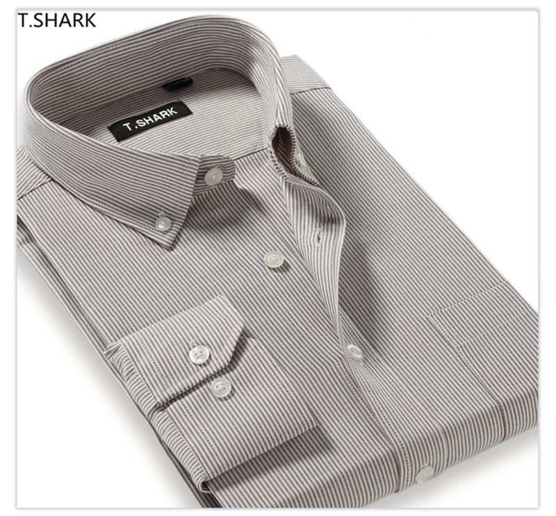 Classic Striped Men Dress Shirts Long Sleeve Slim Fit Business Formal Shirts Camisa Masculina Camisas Hombre Male Casual Shirts
