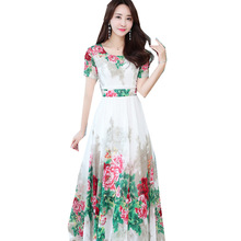 Summer Fashion Women Korean Type Round Collar Short Sleeve Print Bohemian Slim Chiffon Dress цены