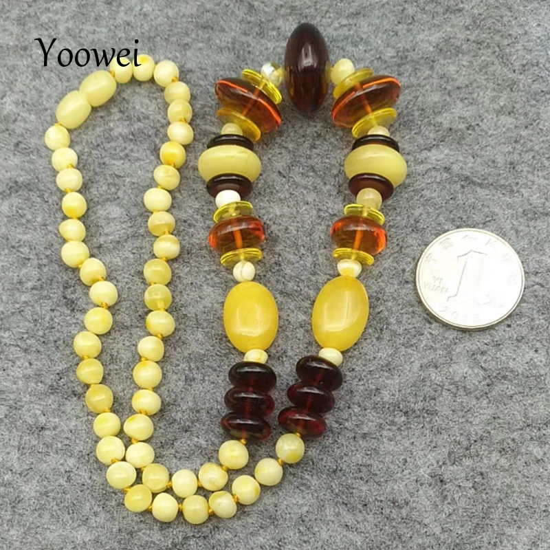 Yoowei New Baltic Amber Necklace for Women Natural Gems Jewelry Adult Gift Original Genuine Amber Necklace Wholesale 50cm--22.8g yoowei wholesale original amber necklace for kids adult natural beads baby amber teething necklace baltic amber jewelry 10 color