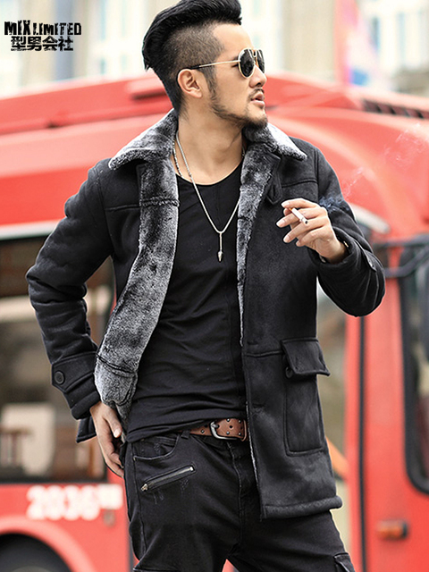 d0f1adee1faad Winter New warm wool fur Leather Garment Casual Faux fur coat   Jacket Men s  brand Clothing
