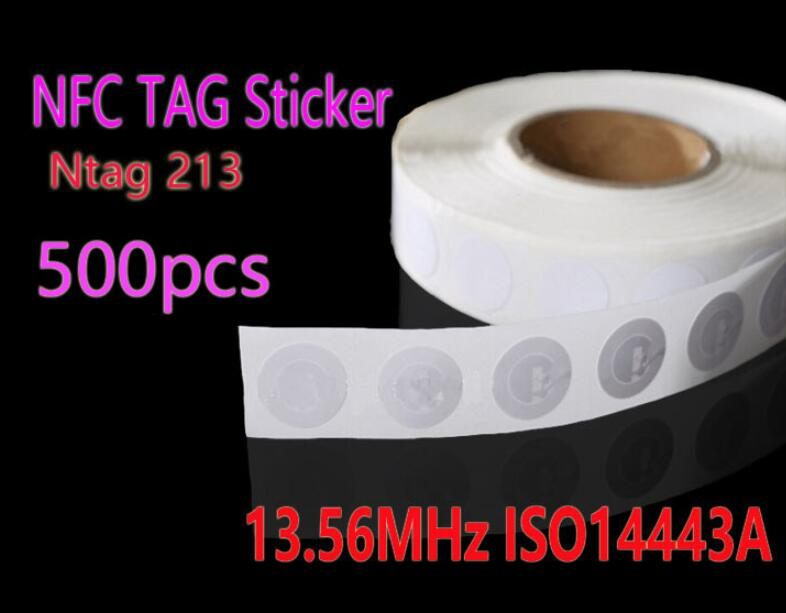 bilder für 500 stücke NFC Tag 13,56 MHz ISO14443A Ntag 213 NFC Aufkleber 25mm Ntag213 RFID NFC Tags Aufkleber Für Alle NFC Telefon
