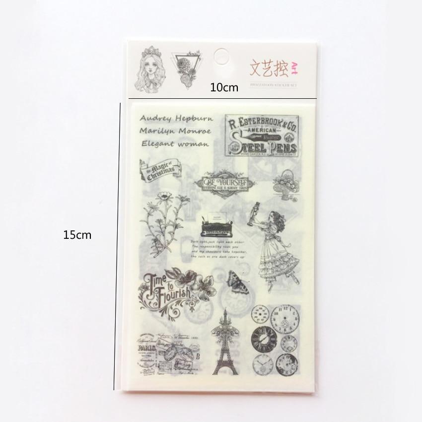 Купить с кэшбэком 6pcs/lot Black and White Retro European Art  Mini Paper Sticker Decoration DIY Scrapbooking Sticker Stationery Children Gift