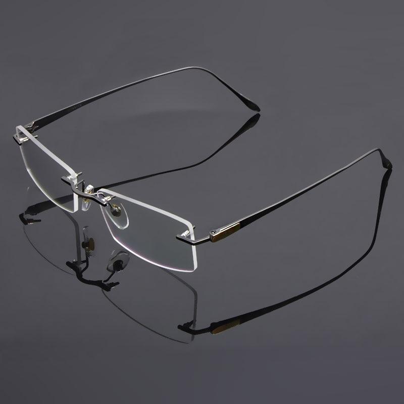 1ea59390e80 Reven Jate Glasses Rimless Eyeglasses Titanium Frame Optical Uncut Edge  Lens Non Prescription Eye Glasses Frame Eyewear 8047-in Eyewear Frames from  Apparel ...