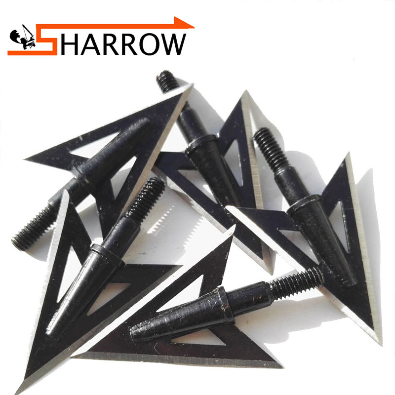 12 pcs Fishing Stainless Steel 2 Fixed Blade Broadheads Arrow Head Hunting Point Special arrows Fish ...