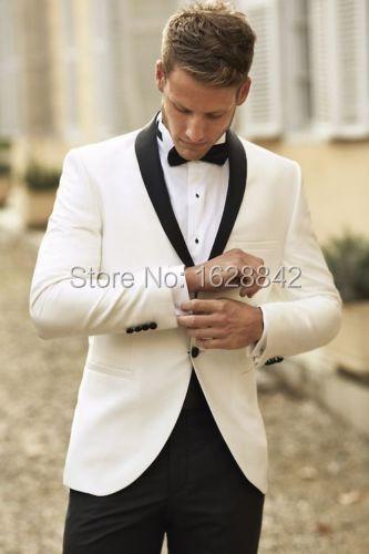Párr Casamento Terno 2016 Por Encargo Blanco Blazers Pantalones Negros de Los Hombres Trajes de Boda Trajes de Novio Esmoquin Traje Formal de Negocios