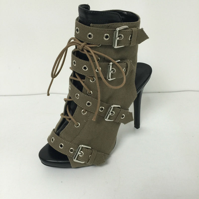 Army Green Open Toe Lace-up Ankle High Pump Shoes Women High Heels Side Zipper Stiletttos Buckles Open Toe Summer 2017 New цена