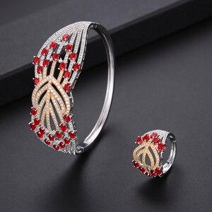 Image 5 - missvikki Trendy Romantic Red Austrian Crystal Luxury Noble Nigerian Wedding African Bridal Jewelry Set Women Attractive Jewelry