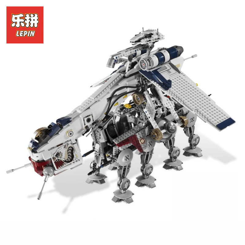 Lepin 05053 Star Wars Cool Republic Dropship with AT-OT Walker Model Building blocks Bricks Compatible LegoINGlys 10195 Toys lepin 05053 1788pcs star series wars republic dropship with at ot walker building blocks bricks set compatible 10195 toys