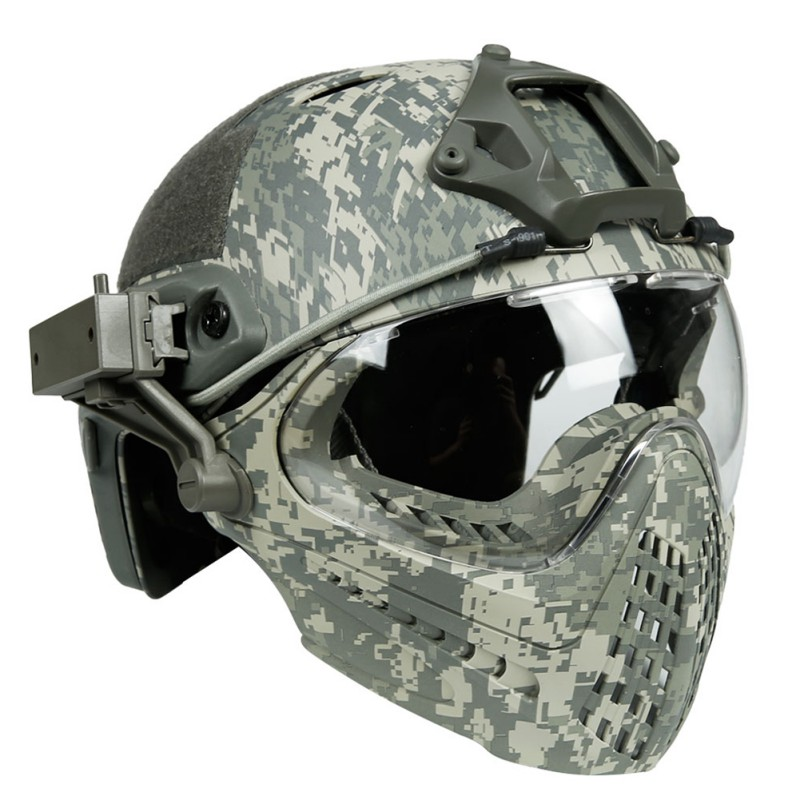 New Men Tactical Integrated Helmet Removable Face Mask +Goggles Tactical Military Airsoft Masks TPU M/l Size