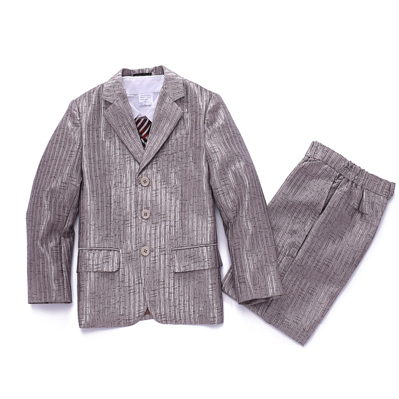 Boys Silver Wedding suits Jacket Vest Trouser 3PCS Kids Tuxedos Page boy Outfits Children Dress suit Formal Clothes sets 2016 new arrival fashion baby boys kids blazers boy suit for weddings prom formal wine red white dress wedding boy suits
