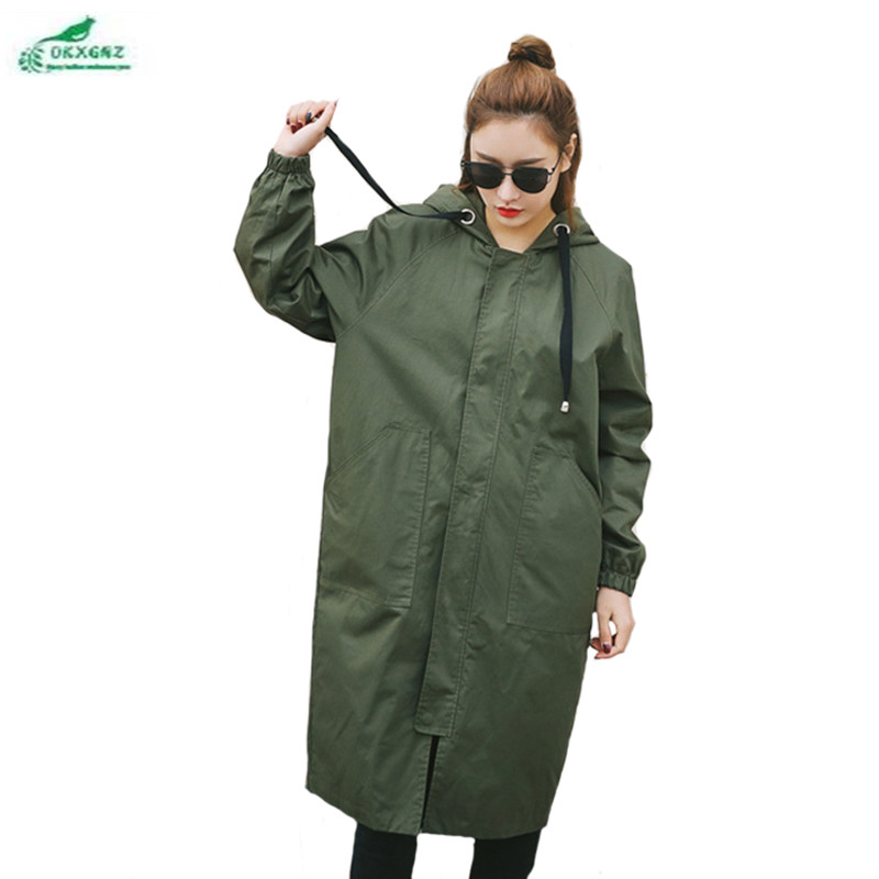 0KXGNZ New Spring Women   Trench   Coat 2017 Long Leisure Hooded Army Green Overcoat Loose Zippers Outwear Plus Size   Trench   HY22