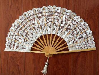 Ventilador plegable de 27cm con encaje de hueso de bambú blanco, abanico...