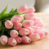 8 10 20 30pcs PU Fake Artificial Silk Tulips Flores Artificiales Bouquets Party Artificial Flowers For