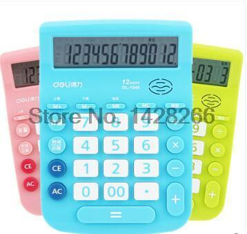2016 Deli 1540A Voice font b Calculator b font Big button Big screen Creative 3 Colors