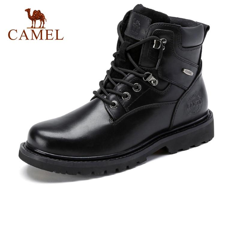 Botas de cuero genuino para hombre de CAMEL Botas de invierno de alta calidad para hombre de cuero al aire libre Casual Martin Tooling Boot masculino Botas Militares negras-in Botas de motocicleta from zapatos    1