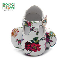 PU leather Soft Sole Baby Girls Shoes T-bar Fower Print Infa