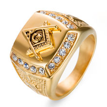 HIP Hop Micro Pave CZ Crystal Iced Out Bling Masonic Ring Gold Color  Stainless Steel Freemasonry Rings for Men Jewelry Gift 3720f2c4b505