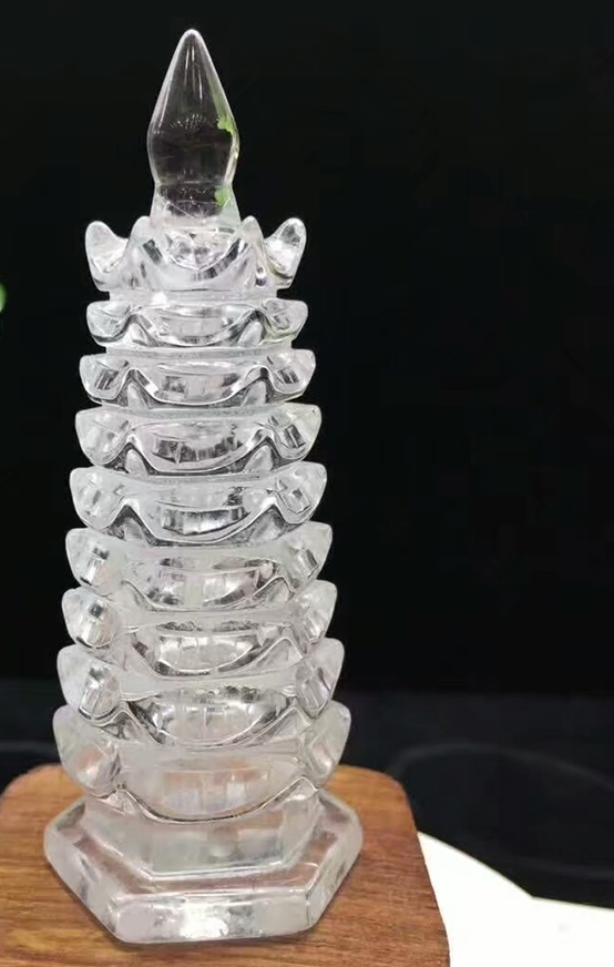 Clear crystal clear crystal natural mineral high quality clear linglong pagoda water quartz crystal fengshui household accessori