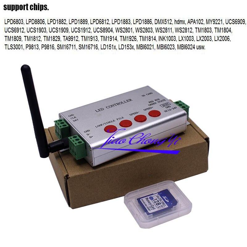 цена на WIFI LED APP Pixel SD Card Controller DMX 512 APA102 WS2812B WS2811 WS2801 Strip