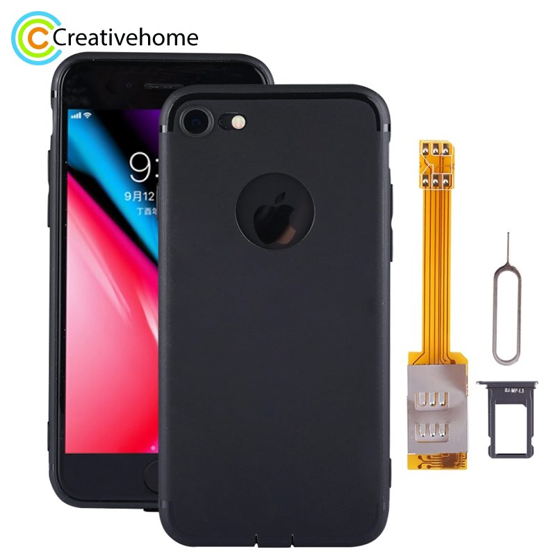 Brand New Dual SIM Cards Adapter Kit With Soft Protective Case For IPhone IPhone 8 / 8 Plus