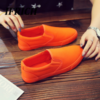 Ifrich Classic Young Casual Men Shoes Slip on Canvas Shoes For Men Fashion Walking Men Shoes Yellow Orange Boy Canvas Sneakers