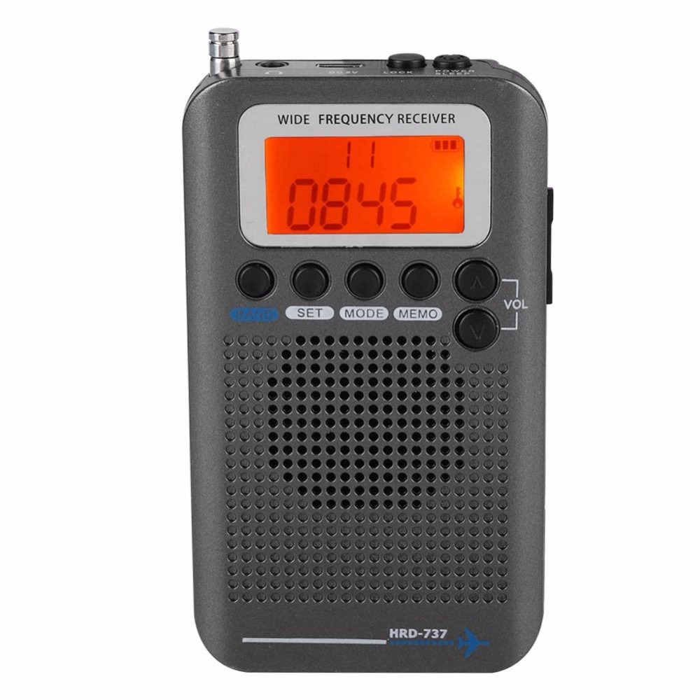 Top Portable Aircraft Radio Receiver,Full Band Receiver - AIR/FM/AM/CB/SW/VHF,LCD Display With Backlight,Chip Has A Power