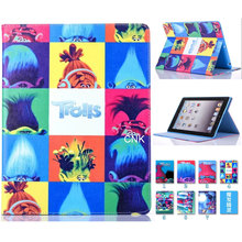 2017 Trolls Poppy Case For Apple iPad 2 3 4 TPU PU Leather PC Branch Elves Biggie Stand Floder Flip Tablet Cover Magic